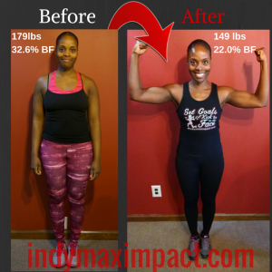 Zionsville Bootcamp Latasha Miller Before & After